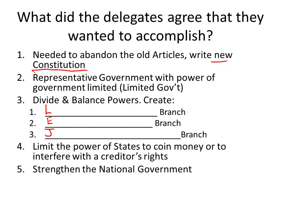 What did the delegates agree that they wanted to accomplish