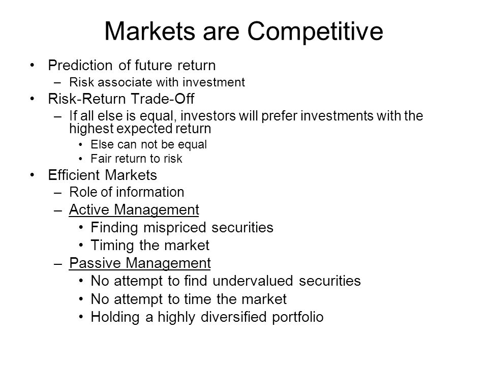 Markets are Competitive