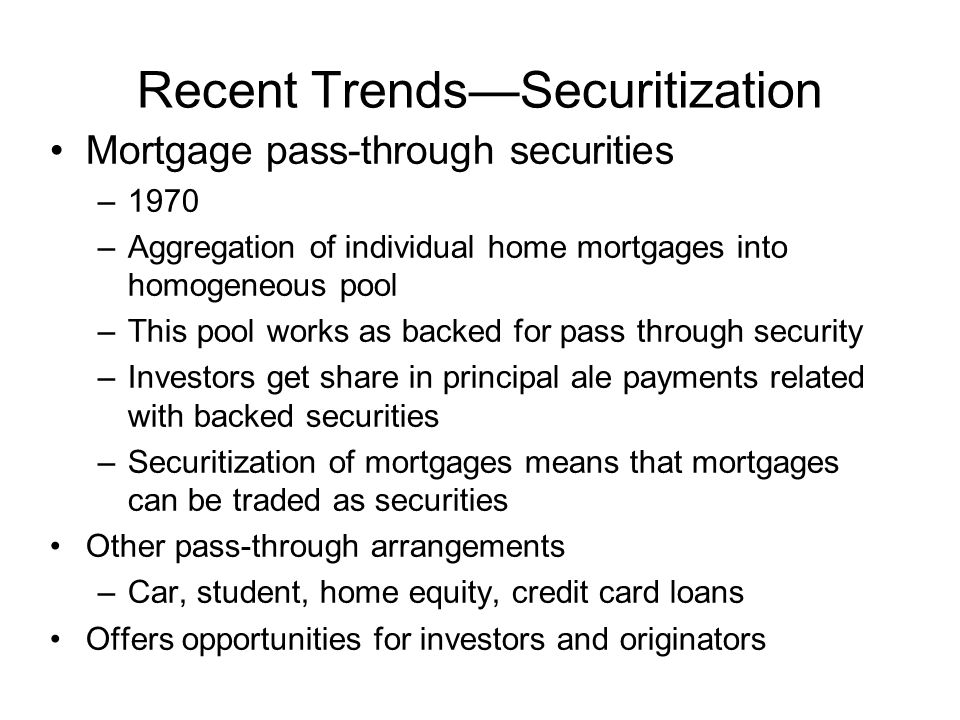 Recent Trends—Securitization