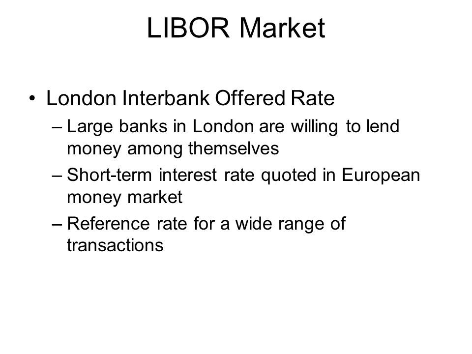 LIBOR Market London Interbank Offered Rate