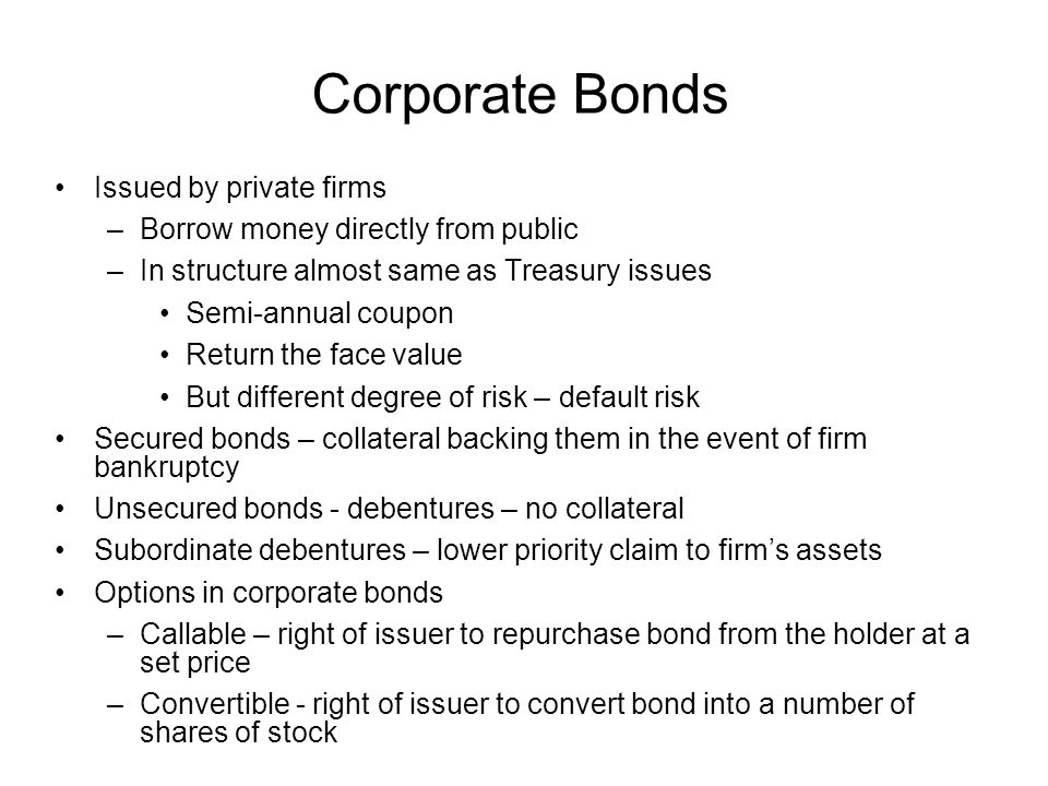 Corporate Bonds Issued by private firms