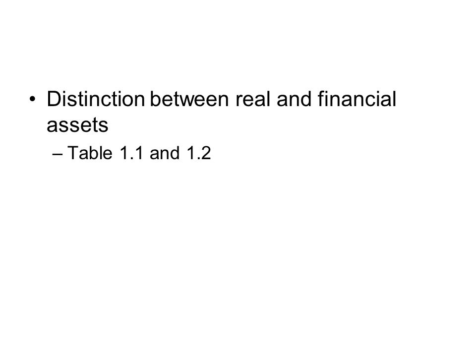 Distinction between real and financial assets