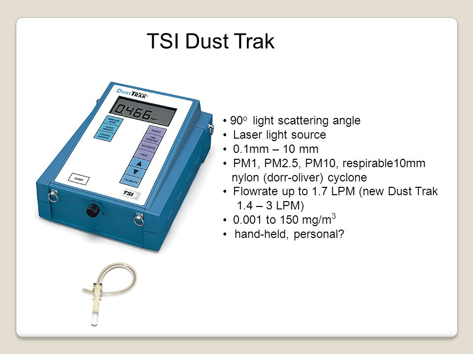 TSI Dust Trak 90o light scattering angle Laser light source