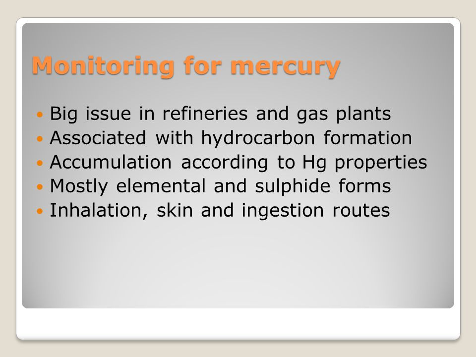 Monitoring for mercury