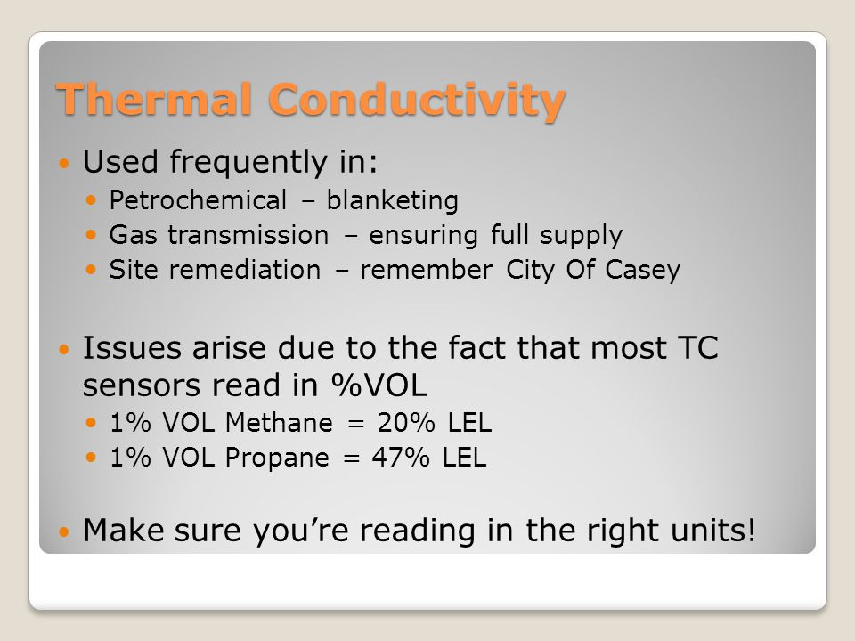 Thermal Conductivity Used frequently in: