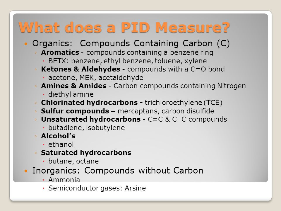 What does a PID Measure Organics: Compounds Containing Carbon (C)