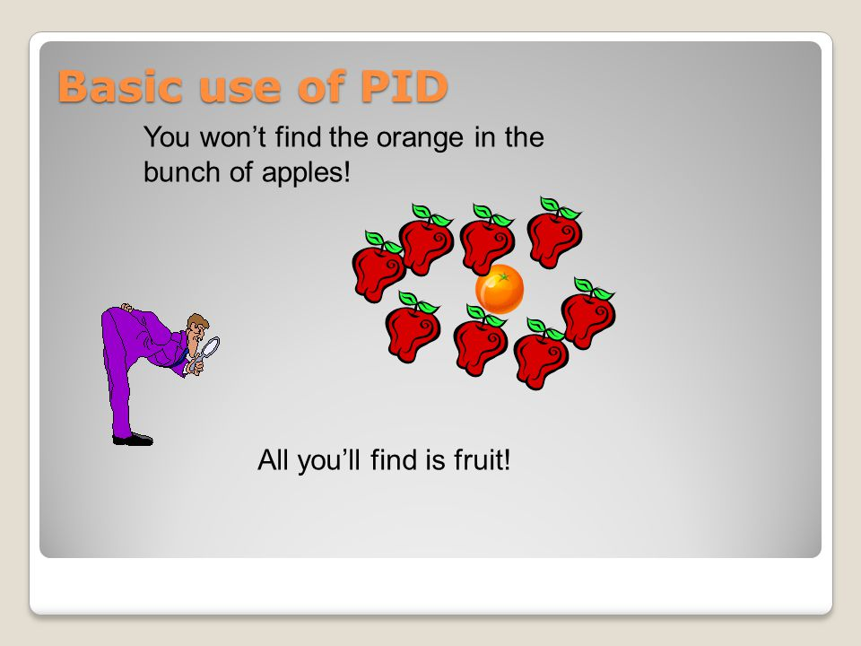 Basic use of PID You won't find the orange in the bunch of apples!