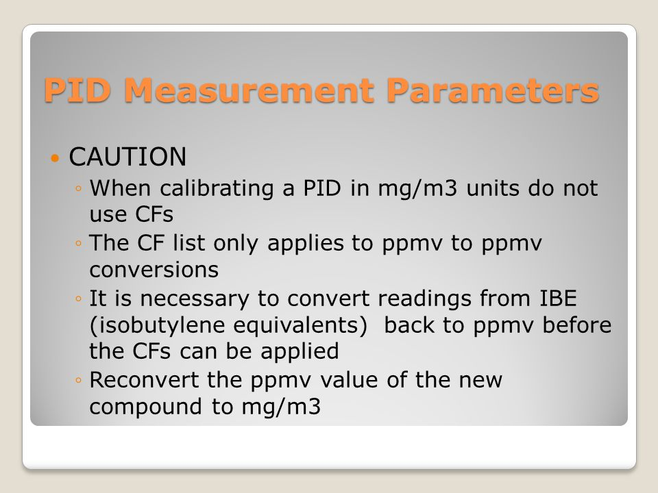 PID Measurement Parameters