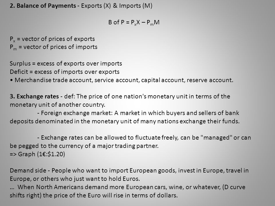 2. Balance of Payments - Exports (X) & Imports (M) B of P = PxX – PmM