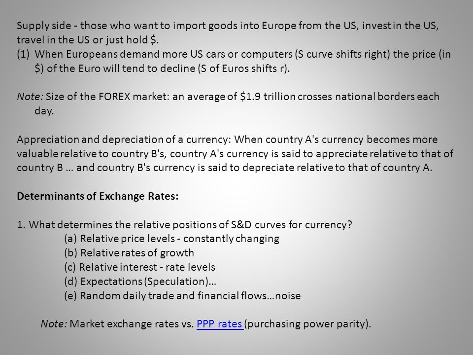 Supply side - those who want to import goods into Europe from the US, invest in the US, travel in the US or just hold $.