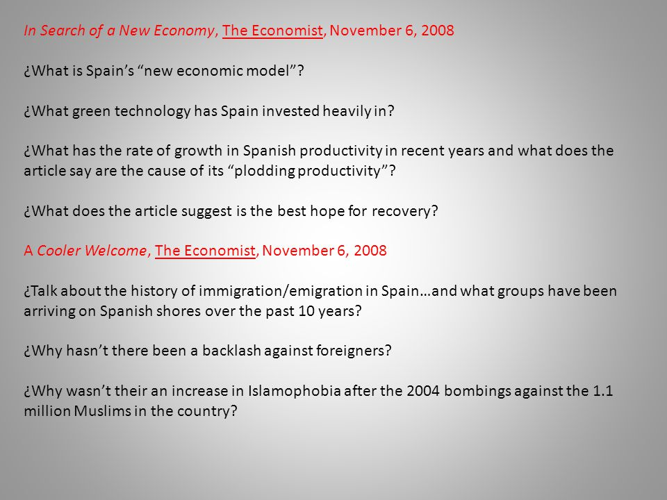 In Search of a New Economy, The Economist, November 6, 2008