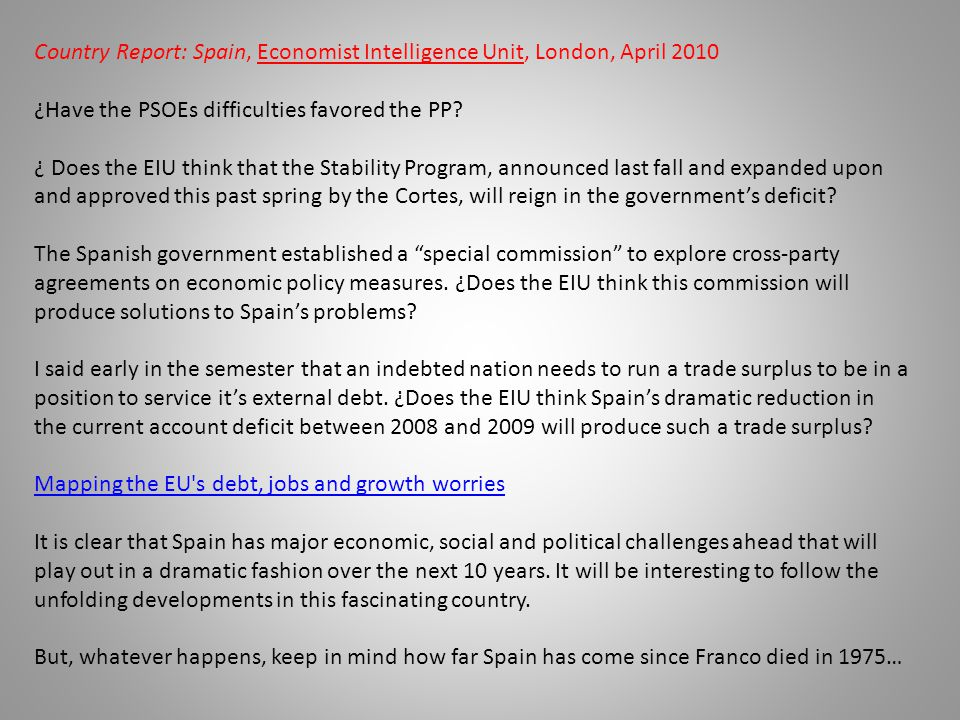 Country Report: Spain, Economist Intelligence Unit, London, April 2010