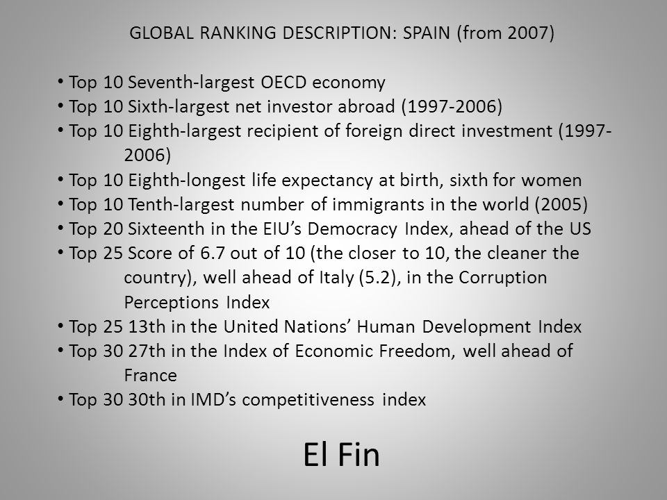 GLOBAL RANKING DESCRIPTION: SPAIN (from 2007)