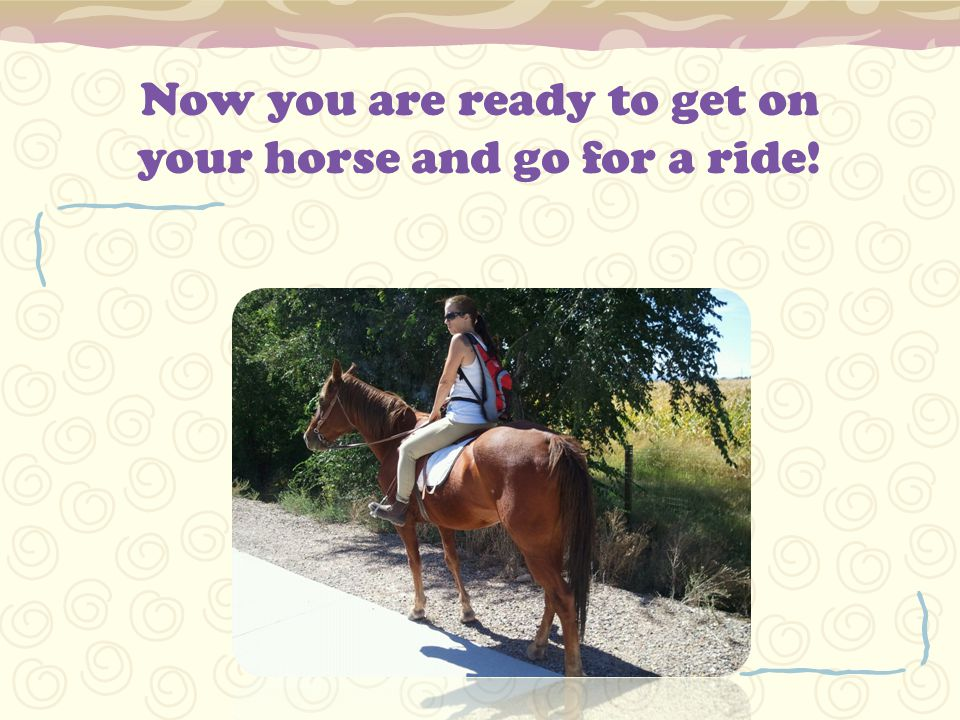 Now you are ready to get on your horse and go for a ride!