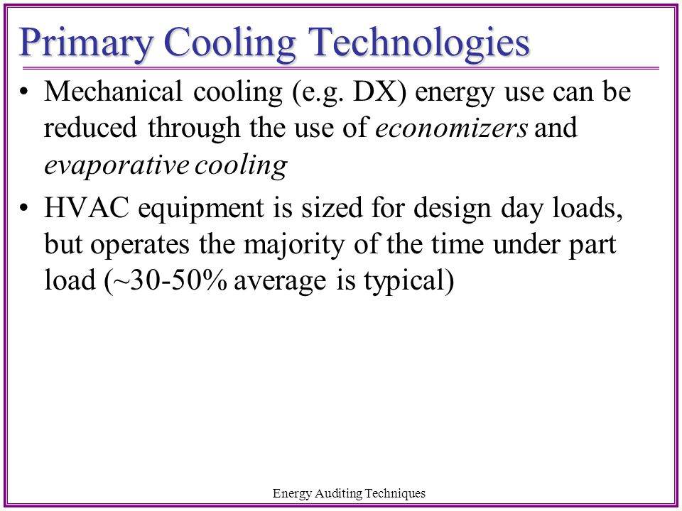 Primary Cooling Technologies