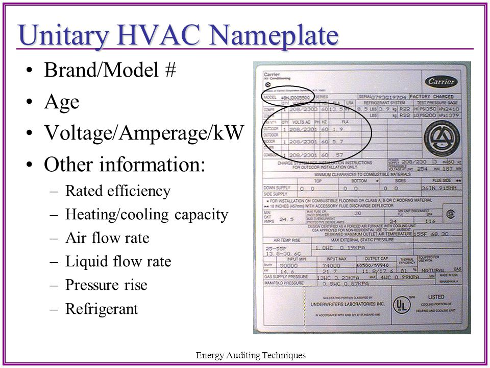 Unitary HVAC Nameplate