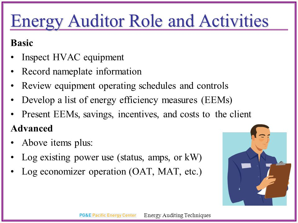 Energy Auditor Role and Activities