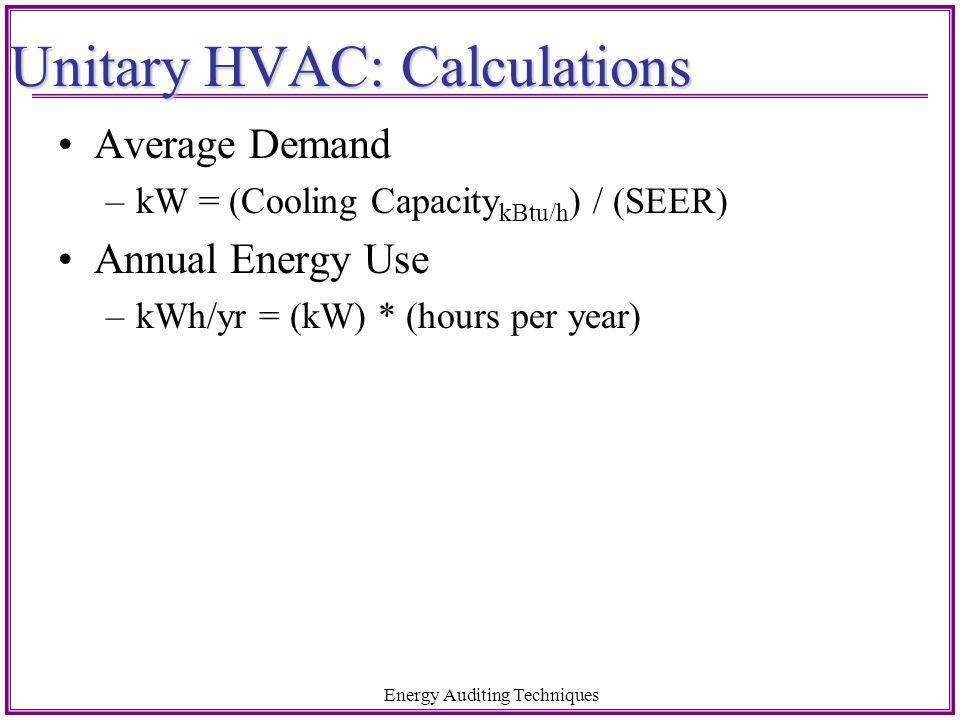 Unitary HVAC: Calculations