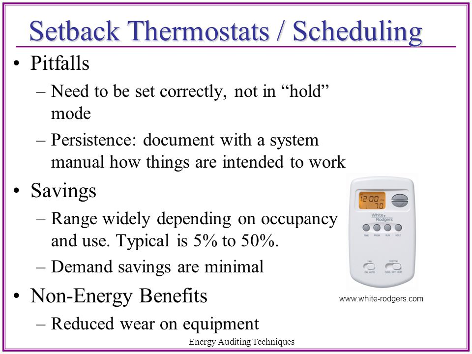 Setback Thermostats / Scheduling