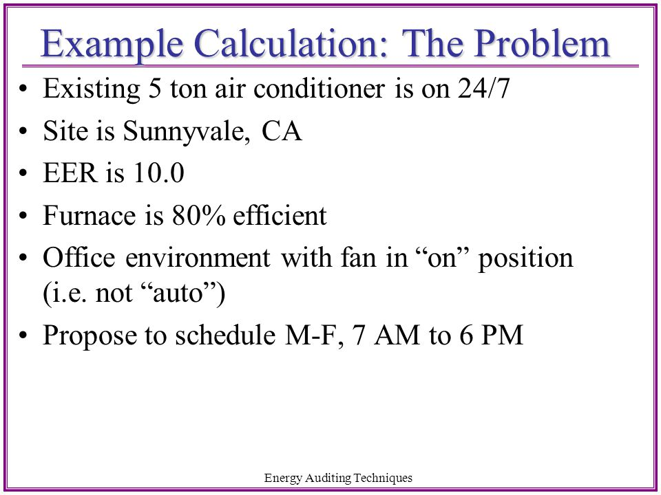 Example Calculation: The Problem
