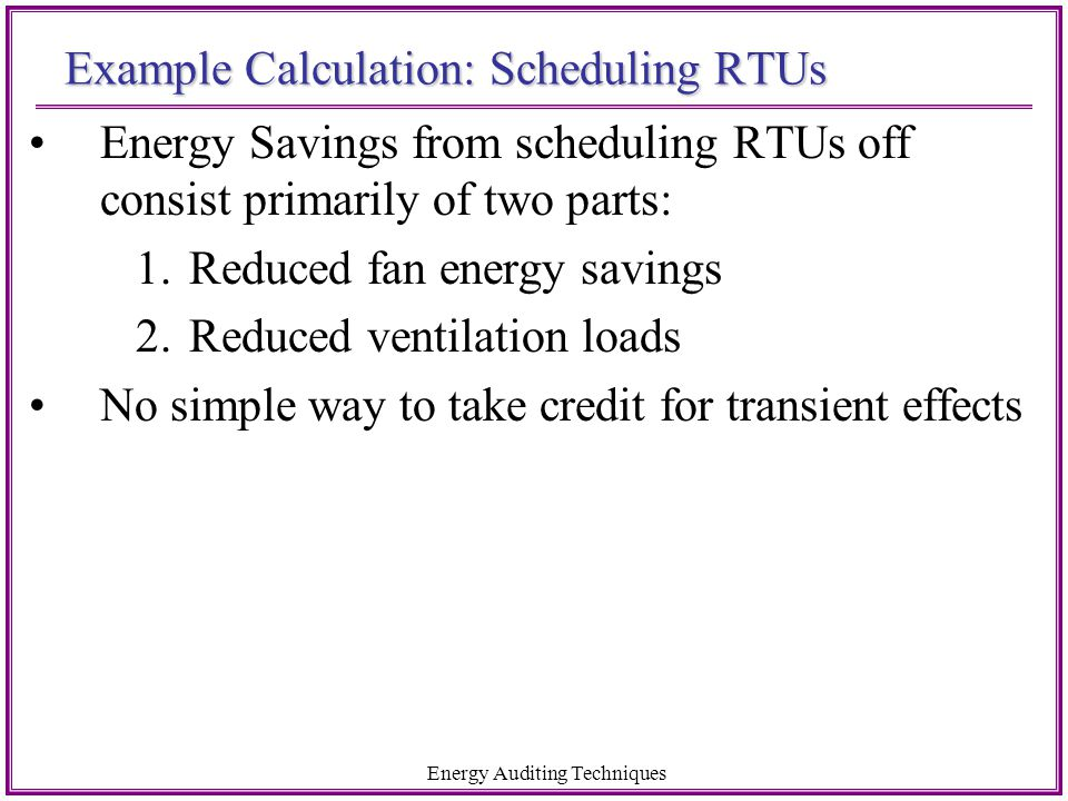 Example Calculation: Scheduling RTUs
