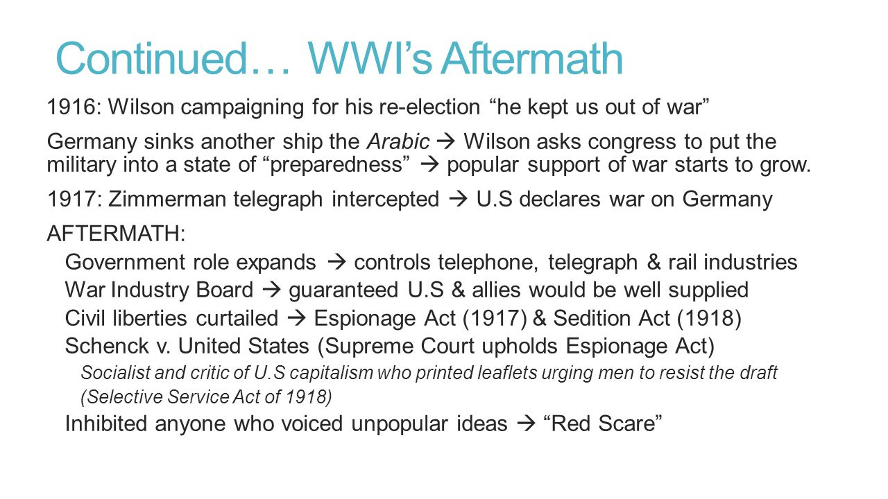 Continued… WWI's Aftermath