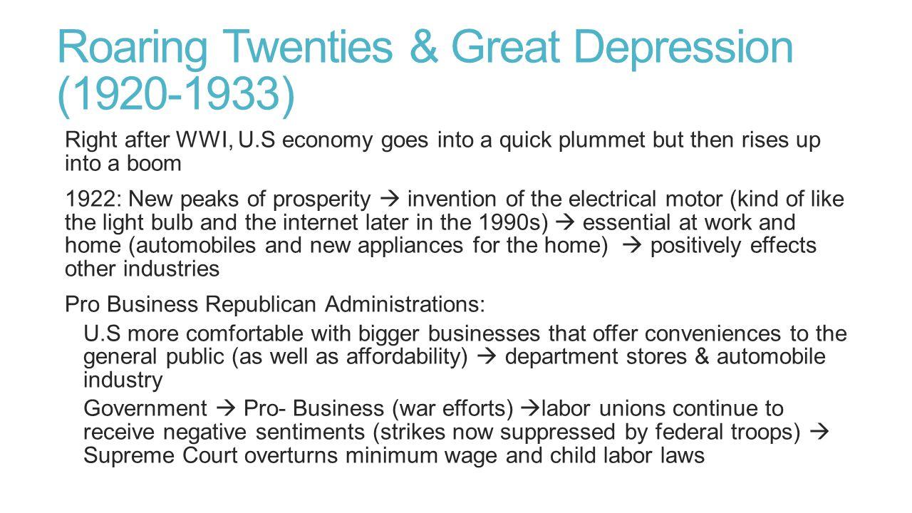 Roaring Twenties & Great Depression (1920-1933)