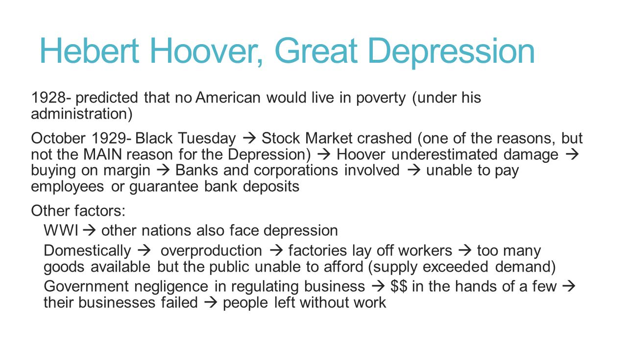 Hebert Hoover, Great Depression
