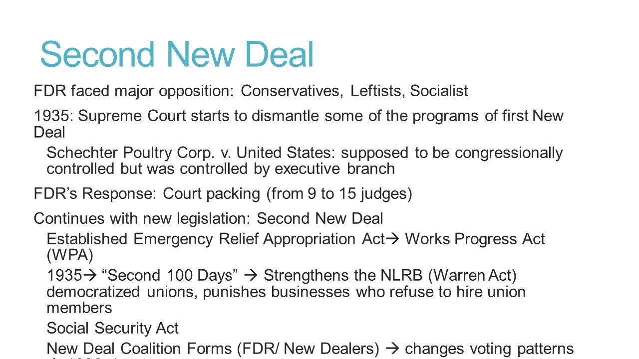 Second New Deal FDR faced major opposition: Conservatives, Leftists, Socialist.