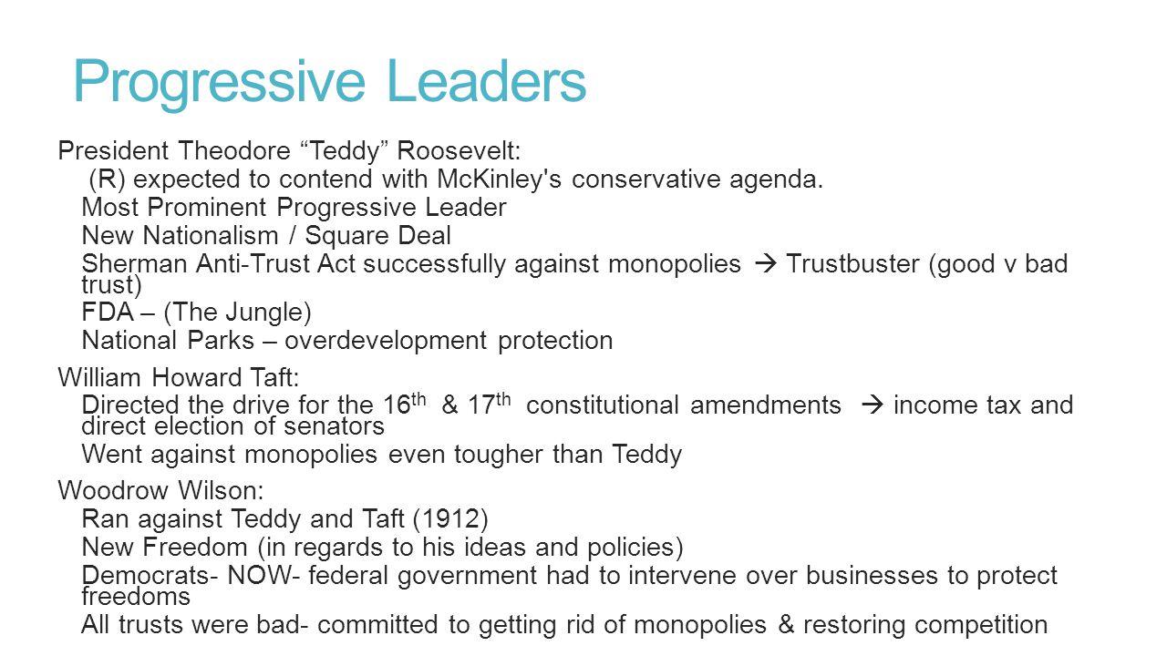 Progressive Leaders President Theodore Teddy Roosevelt: