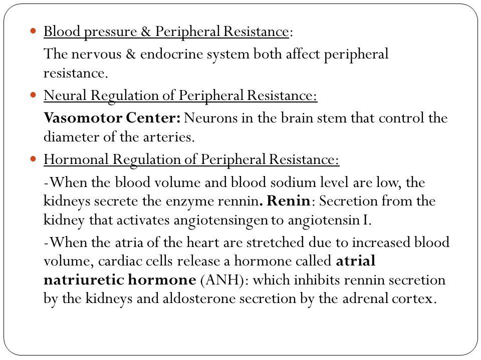 Blood pressure & Peripheral Resistance: