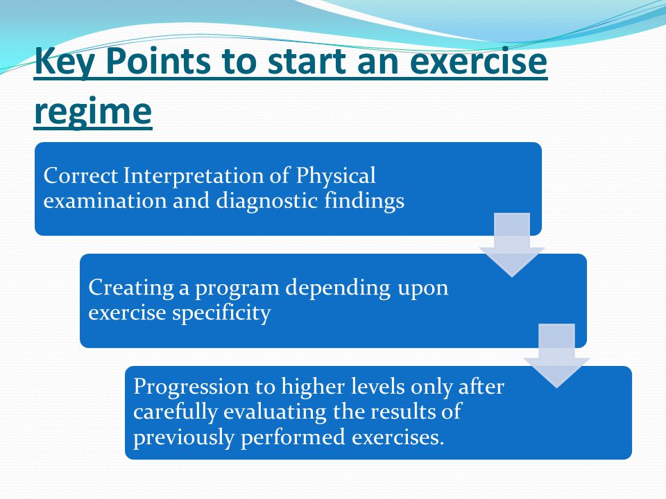 Key Points to start an exercise regime