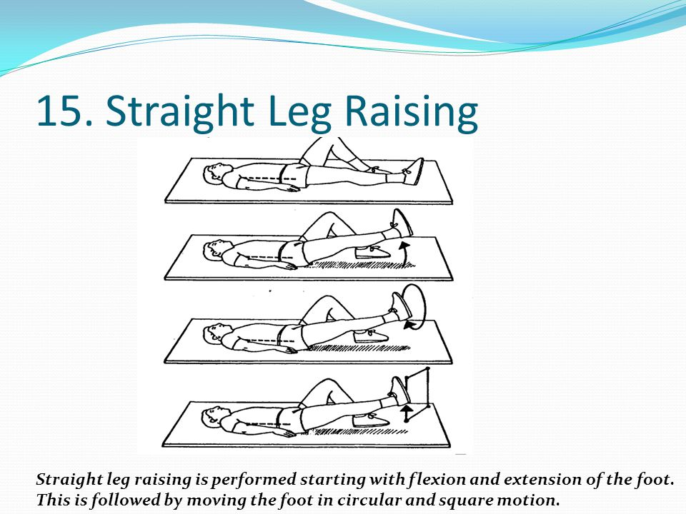 15. Straight Leg Raising Straight leg raising is performed starting with flexion and extension of the foot.