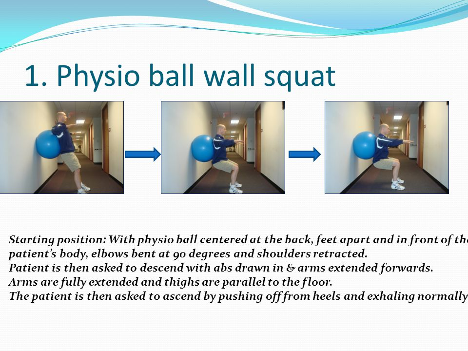 1. Physio ball wall squat Starting position: With physio ball centered at the back, feet apart and in front of the.