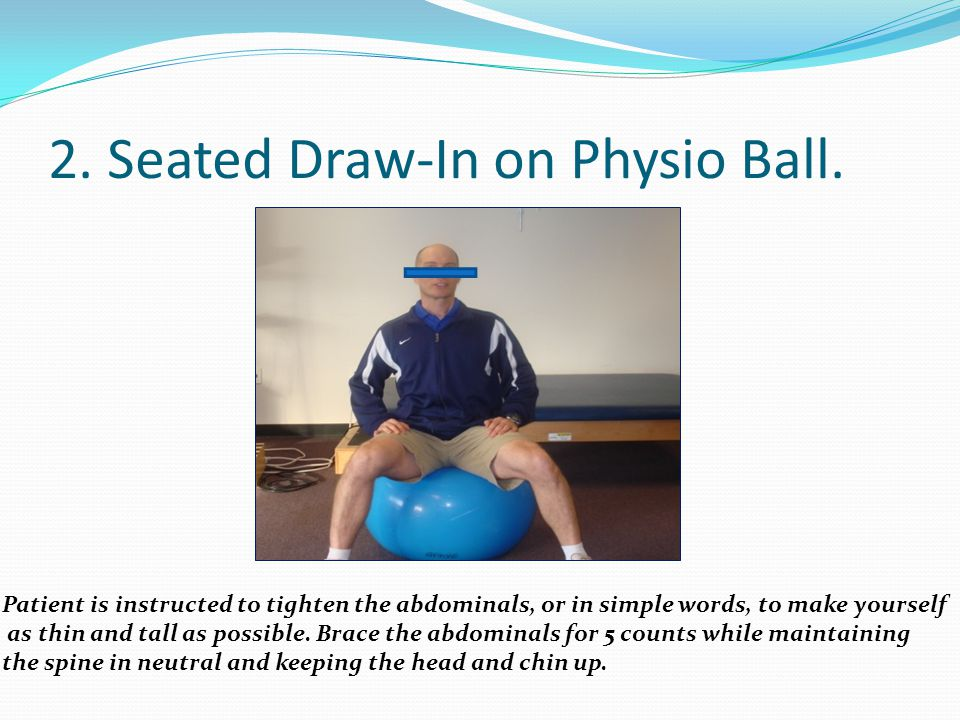 2. Seated Draw-In on Physio Ball.
