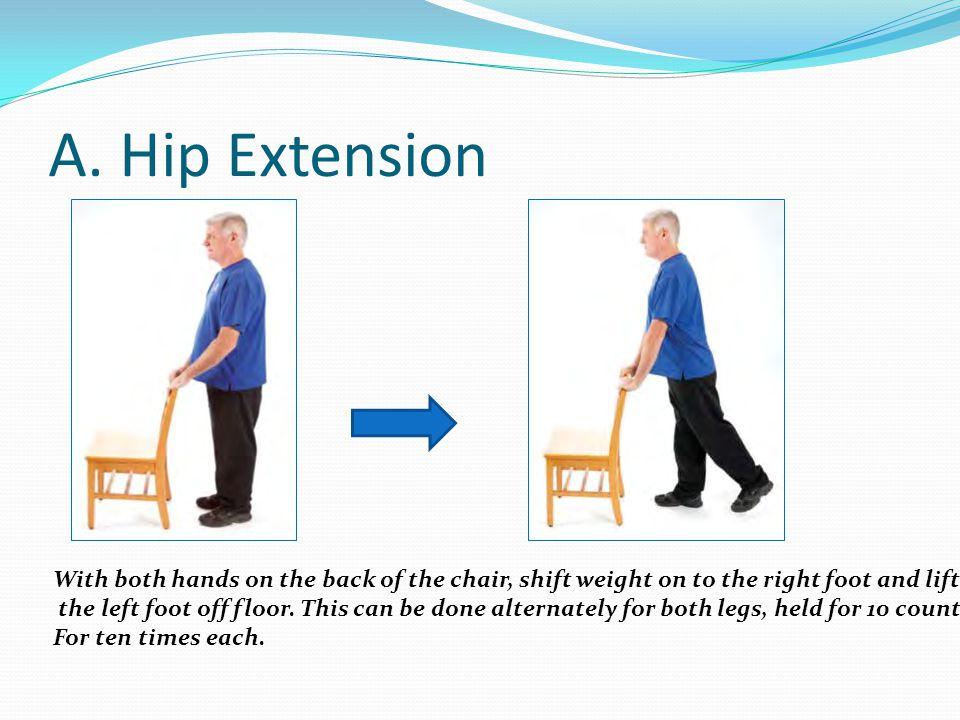 A. Hip Extension With both hands on the back of the chair, shift weight on to the right foot and lift.
