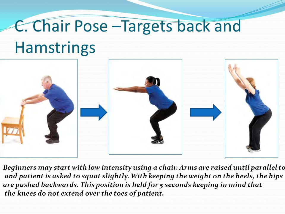 C. Chair Pose –Targets back and Hamstrings