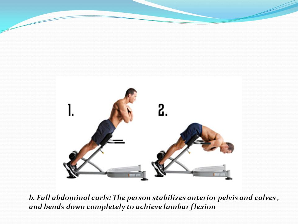 b. Full abdominal curls: The person stabilizes anterior pelvis and calves ,