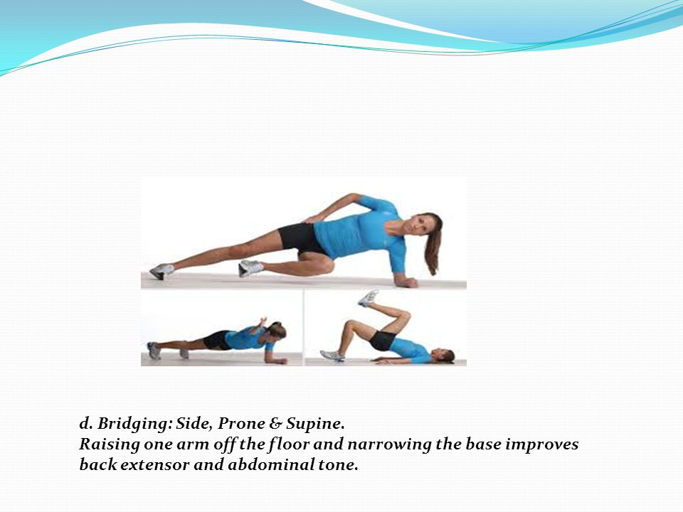 d. Bridging: Side, Prone & Supine.