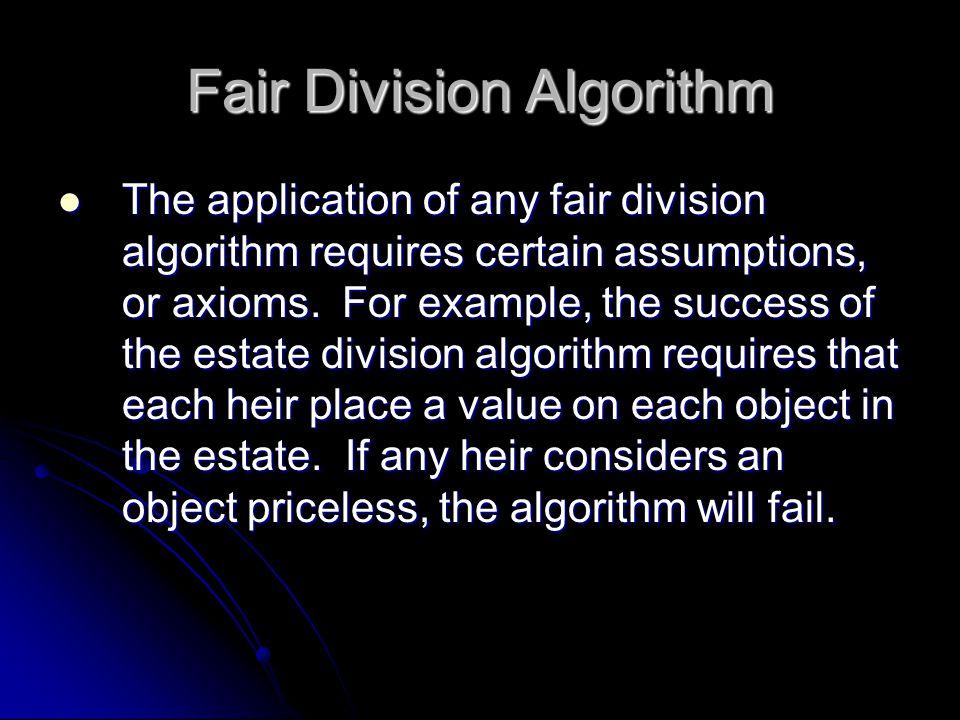 Fair Division Algorithm