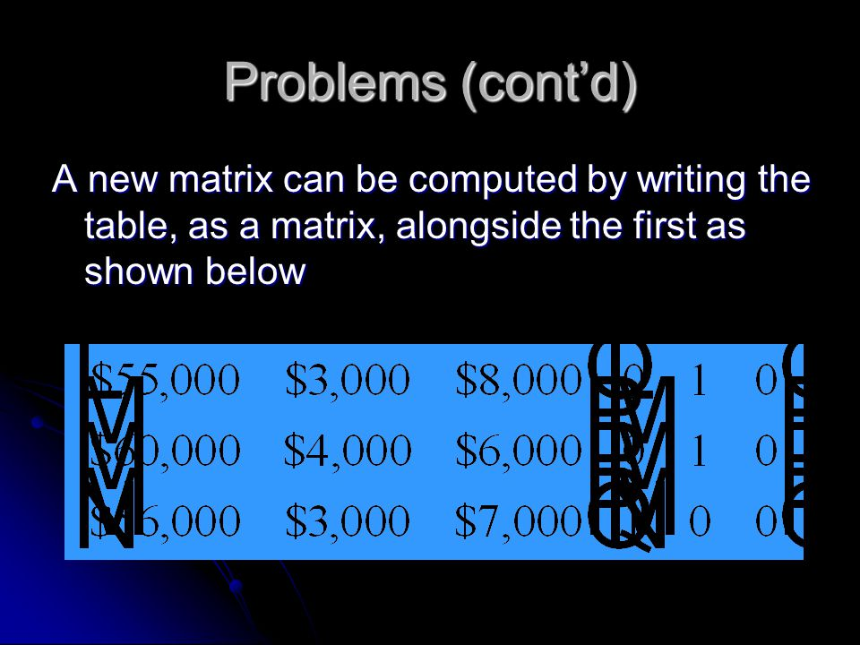 Problems (cont'd) A new matrix can be computed by writing the table, as a matrix, alongside the first as shown below.