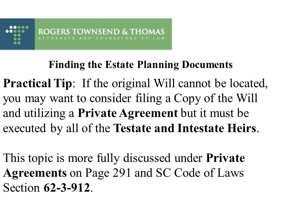 Finding the Estate Planning Documents