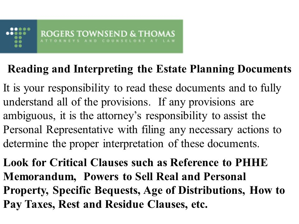 Reading and Interpreting the Estate Planning Documents