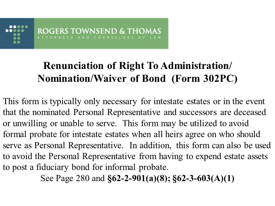 Renunciation of Right To Administration/