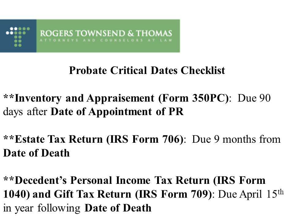 Probate Critical Dates Checklist