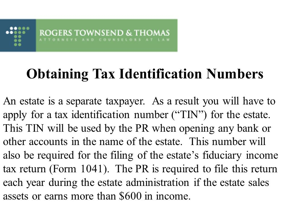 Obtaining Tax Identification Numbers