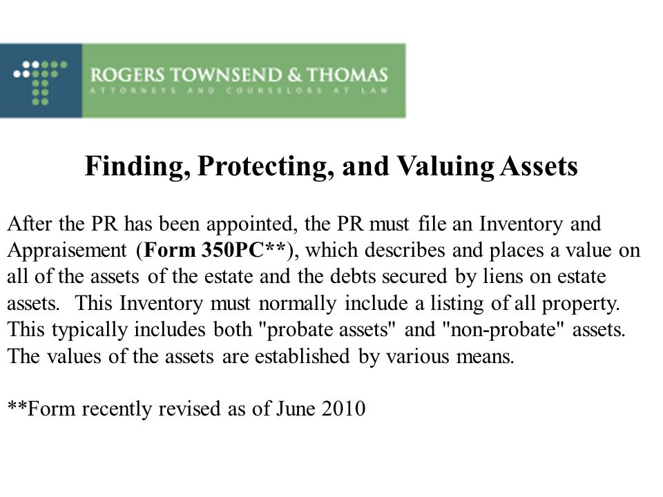 Finding, Protecting, and Valuing Assets