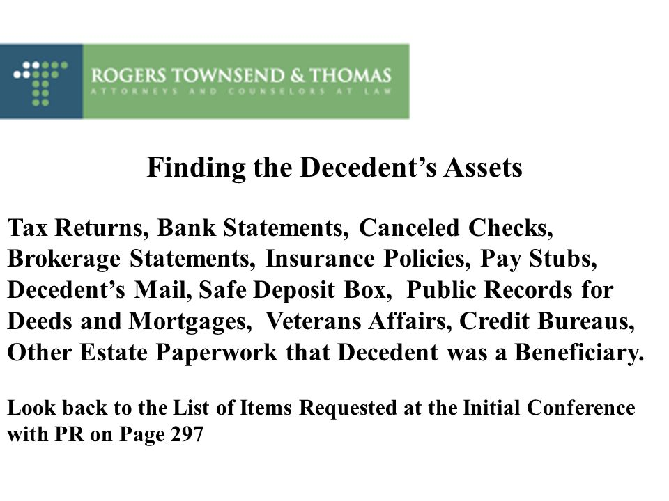 Finding the Decedent's Assets