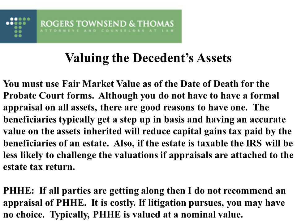 Valuing the Decedent's Assets