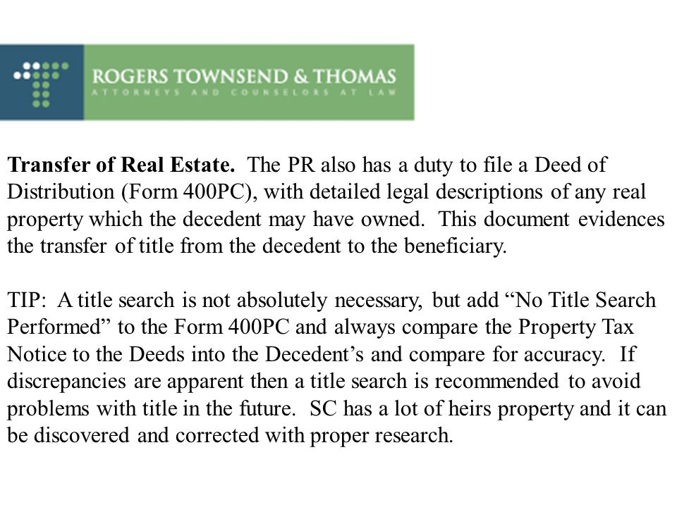 Transfer of Real Estate